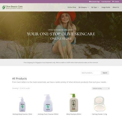Olive Beauty Care online store designed by Redooor Studio